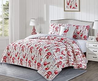 Seaside Resort Fancy Flamingo 4PC King Quilt Set, White and Pink