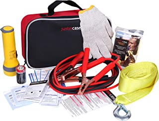 Justin Case Commuter Auto Safety Kit with 365 days of Roadside Assistance – Car Emergency Kit with Booster Cables, Tow Strap, First Aid Kit, Flashlight, Rain Poncho, Gloves
