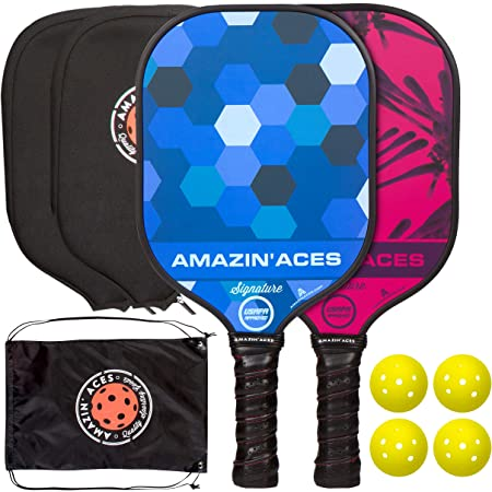 Amazin' Aces Signature Pickleball Paddle Set   USAPA Approved   Graphite Face & Polymer Core   Premium Grip   Includes Paddles, Balls, Paddle Covers, Bag & eBook   2 Paddle Set (Blue & Pink)