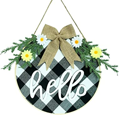 MELAJIA Welcome Wreaths for Front Door Hello Sign Round Buffalo Plaid Check Hanging Signs Spring Summer Wreath for Front Porc
