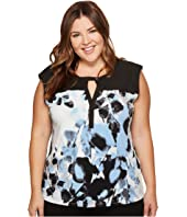 Calvin Klein Plus - Plus Size Sleeveless Printed Top with Solid Yoke