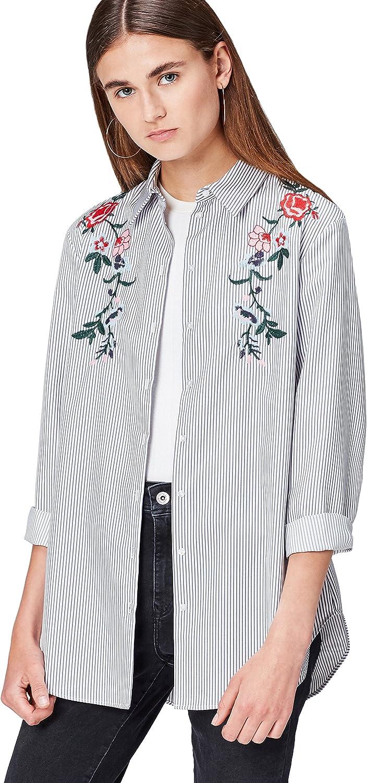 Marca Amazon - find. Camisa Folk con Bordados para Mujer