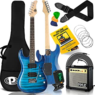 Pyle Electric Guitar and Amp Kit - Full Size Instrument w/Humbucker Pickups Bundle Beginner Starter Package Includes Ampli...