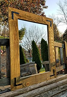 Shiplap Large Framed Mirror with Decorative Corner Brackets Available in 4 Sizes and 20 Colors: Shown in Driftwood Stain - Large Wall Mirror - Rustic Barnwood Style - Wall Mirror