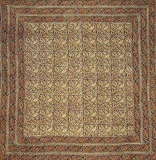 Full Moon Loom Kalamkari Block Print Square Cotton Tablecloth 78