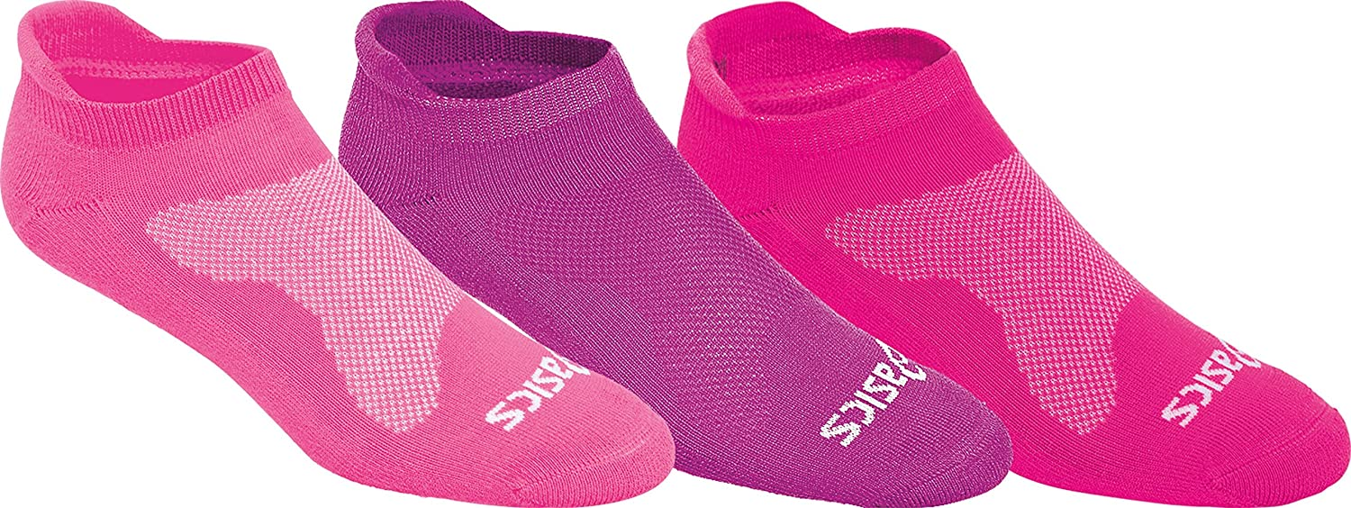 (Medium, Knockout ピンク) - ASICS Women's Cushion Low Cut Sock (Pack of 3)