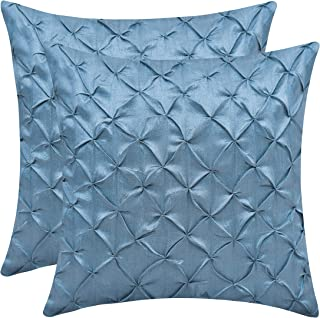 The White Petals Slate Blue Couch Pillow Covers (Faux Silk, Pinch Pleat, 12x12 inch, Pack of 2)