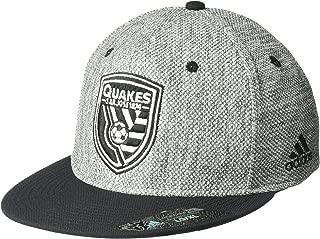 adidas MLS San Jose Earthquakes Men's Heathered Gray Fabric Flat Visor Flex Hat, Large/X-Large, Gray