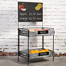 MyGift Country Rustic Metal Produce Rack with Chalkboard Sign & Removable Torched Wood Trays