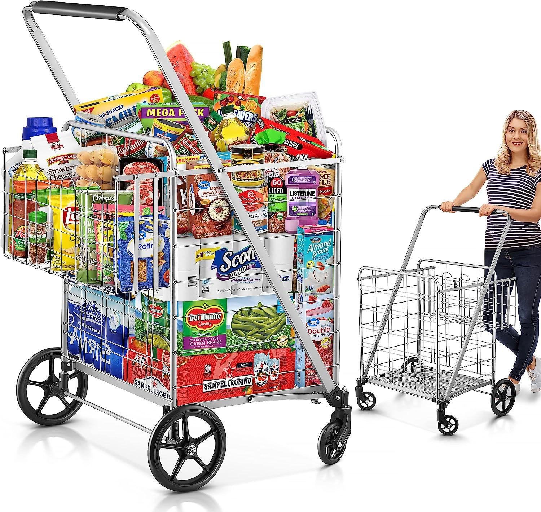 Shopping Cart, 440 lbs Upgrade Super Capacity Grocery Cart Extra