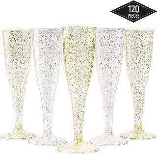 120 Copas Flautas de Champán de Plástico Desechables, Brillo de Oro y Plata (150ml) - Elegante, Resistente y Reutilizable| Vasos Alargadas Champagne para Fiestas Cumpleaños Boda Navidad Año Nuevo.