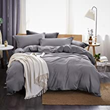 Dreaming Wapiti Duvet Cover King,100% Washed Microfiber 3 Piece Bedding Sets ,Solid Color - Soft and Breathable with Zipper Closure & Corner Ties(Gray)