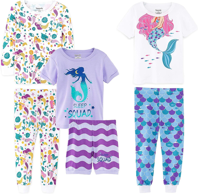 Vopawetty Girls' 6-Piece Snug-Fit Cotton Pajama Set Sleepwear
