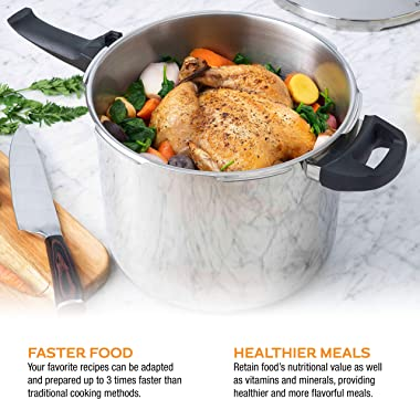 Zavor DUO Combi 4.2 & 8.4 Quart Multi-Setting Pressure Cooker Set with Steamer Basket and Recipe Book - Polished Stainles
