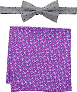 Indigo Dot and Flower Pre-Tied Bow Tie and Pocket Square Set