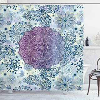 Ambesonne Home Decor Collection, Floral Mandala Oriental Far Eastern Style Home Decor Ethnic Fabric Print Decoration Ombre, Polyester Fabric Bathroom Shower Curtain, 75 Inches Long, Purple Blue