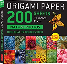 """Origami Paper 200 Sheets Nature Photos 8 1/4"""" (21 CM): Extra Large Tuttle Origami Paper: High-Quality Double Sided Origami..."""