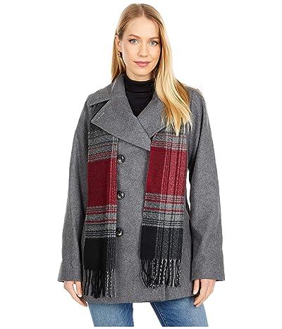 London Fog Double Breasted Short Wool Coat w/ Scarf (Medium Grey) Women