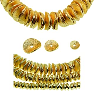 Brushed Gold Finish Wavy Spacer Beads. Material: Gold Plated Finish Copper. 3 Sizes Included 1 Strand of 4, 6 and 8 mm (Approx 4 inches Each) 3 Strands Total Approx 235 Pieces.