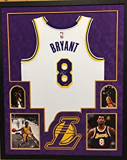 Kobe Bryant Los Angeles Lakers Autograph Signed Custom Framed Jersey Nike Swingman Throwback White Suede Matted #8 4 Picture Panini Authentic Certified