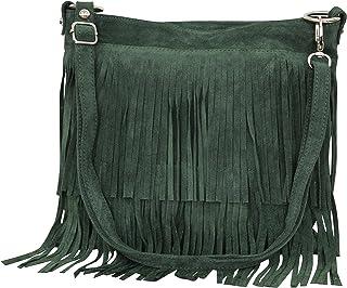 AMBRA Moda Damen Handtasche Ledertasche Umhängetasche Fransentasche Schultertasche Damentasche Wildleder 32 cm x 29 cm x 2...