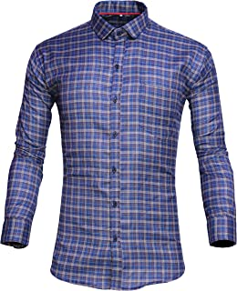 Tryme Fashion Men's Cotton Casual Checks Shirt for Men Full Sleeves
