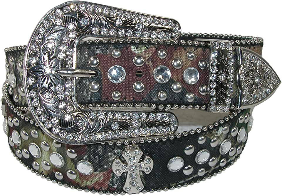 CTM Women's Rhinestone Cross on Mossy Oak Camo Belt