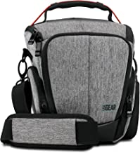 USA Gear Camera Case for Digital SLR  Grey  with Soft Cushioned Interior  Zippered Accessory Pockets  Adjustable Carry Strap for Nikon D3300 D3400 D5500  Canon Rebel T6i T5i More