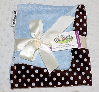 Minky Blanket - Baby Blanket, Toddler Blanket, Child Blanket - Brown and Blue Polka Dot Minky with Baby Blue Dot Minky