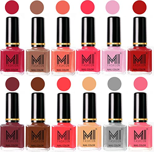Mi Fashion 12 Pcs Color Nail Polish Shades-Magenta,Dark Nude,Peach,Neon Pink,Pale Violet,Red,Mauve Brown,Olive Brown,Carrot Red,Nude,Grey,Pink product image