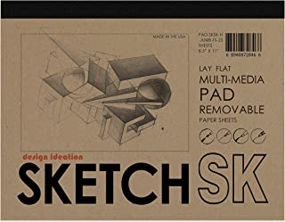 "Design Ideation Lay Flat Sketch Pad. Removable Sheet Sketchbook for Pencil, Ink, Marker, Charcoal and Watercolor Paints. Great for Art, Design and Education. 8.5"" x 11"""