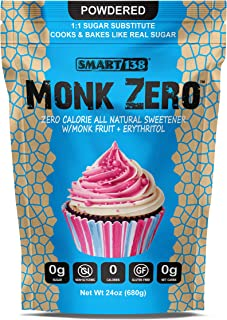 Monk Zero - Powdered Monk Fruit Sweetener, Non-Glycemic, Keto Approved, Zero Calories, 1:1 Confectioner Sugar Substitute (...
