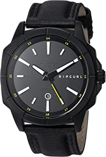 Rip Curl Men's Stainless Steel Quartz Sport Watch with Leather Strap, Black, 23 (Model: A3085MID1SZ