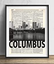 Columbus Skyline With Bold Name Dictionary Art Print 8×10