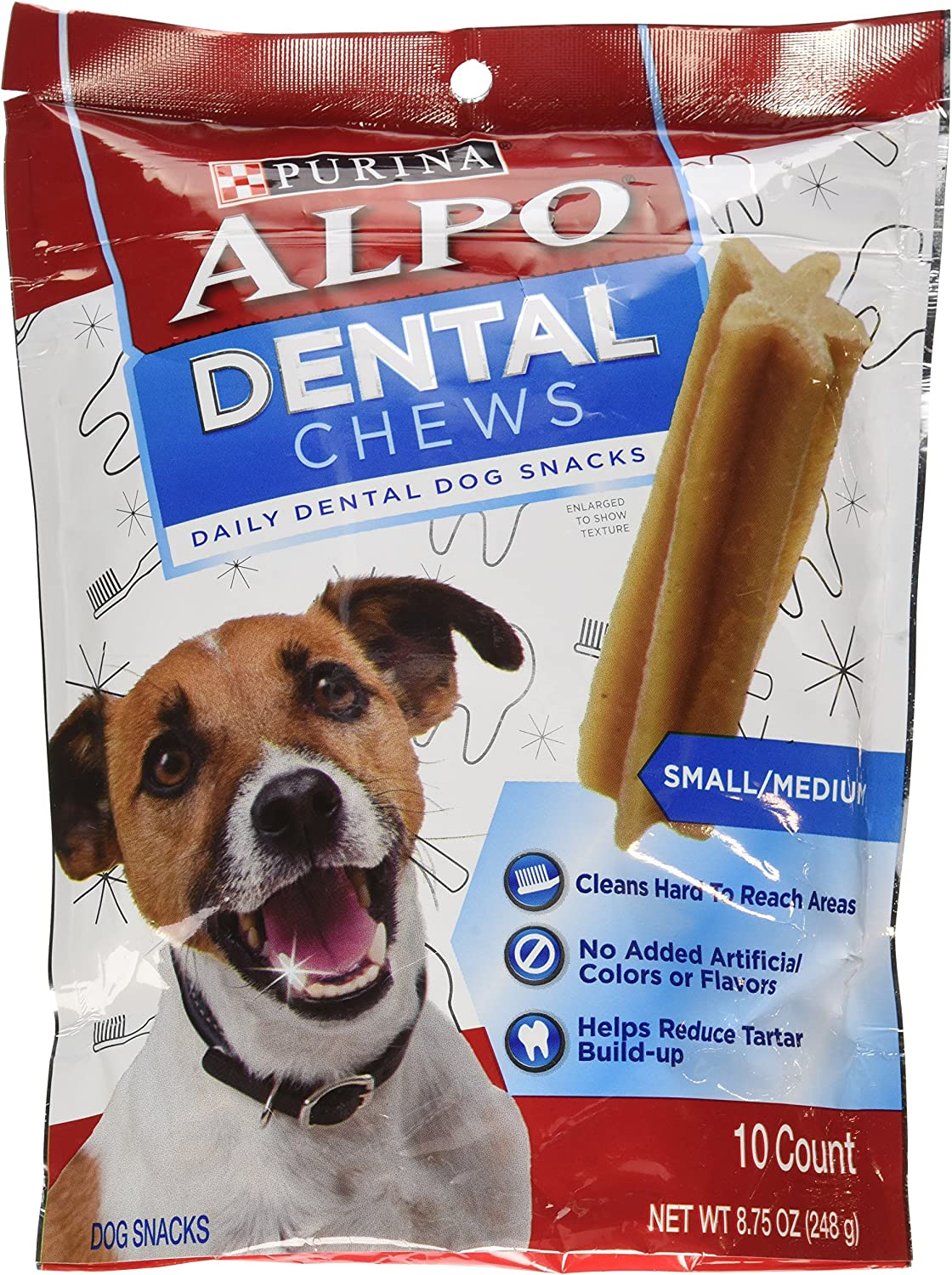 Purina ALPO Dog Snacks, Dental Chew Treats, 10 Count Pouch, Pack of 5