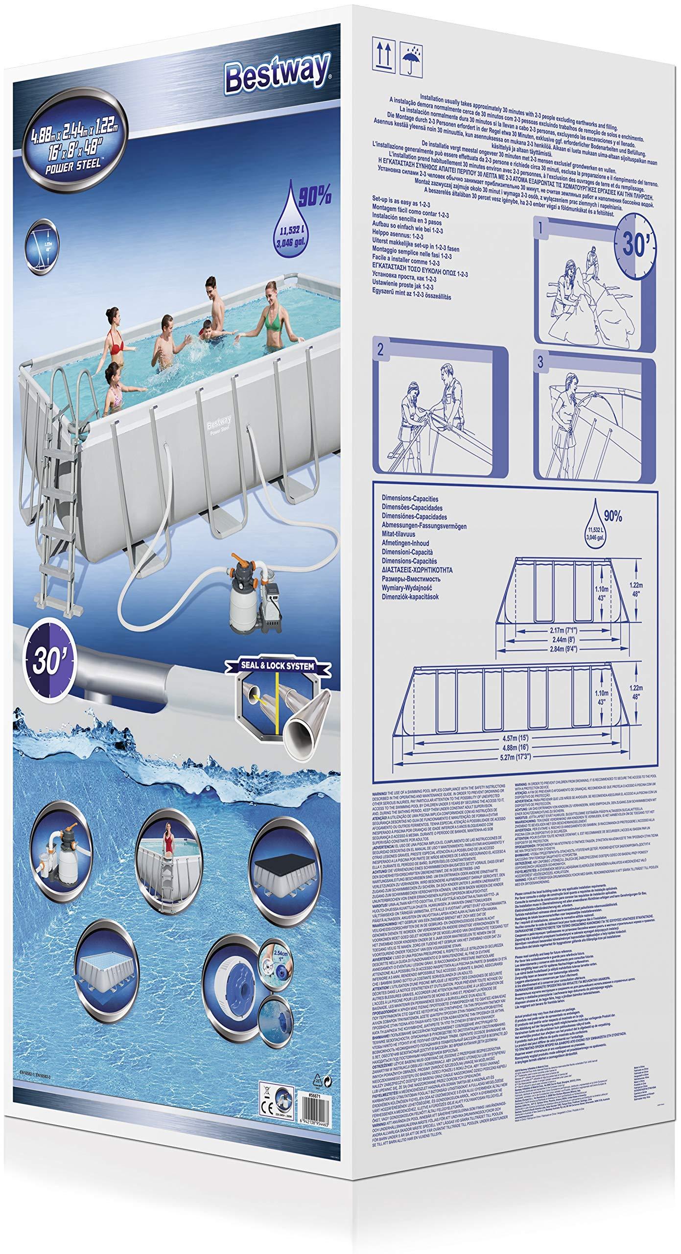 Bestway 56671 Power Steel Rectangular Pool 488 x 244 x 122 cm ...