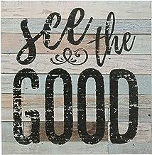 """ستونيبريار ريفي 38.1 سم عمل فني جداري من الخشب الأزرق والأبيض مع اقتباس إلهامي """"See the Good""""، ديكور جداري لغرفة المعيشة، ..."""