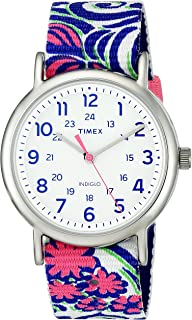 Women's TW2P90200 Weekender Reversible Blue Swirl Nylon Slip-Thru Strap Watch