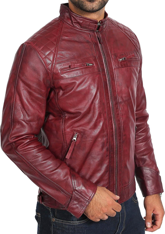 A1 FASHION GOODS Latest Fitted Mens Cognac Leather Biker Jacket Gents Zip Up Lambskin Coat- Django