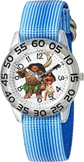 DISNEY Boys' Moana Analog-Quartz Watch with Nylon Strap, Blue, 19 (Model: WDS000039