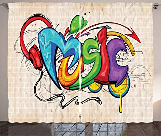 Ambesonne Music Decor Curtains, Illustration of Graffiti Style Music Lettering Headphones Hip Hop Rhythm Tempo Hipster Concept, Living Room Bedroom Decor, 2 Panel Set, 108 W X 90 L Inches, Multi