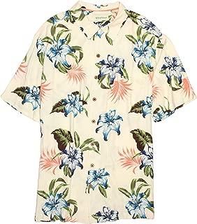 Caribbean Men's Big Tall Silk-Rayon Blend Tropical Hawaiian Camp Shirt