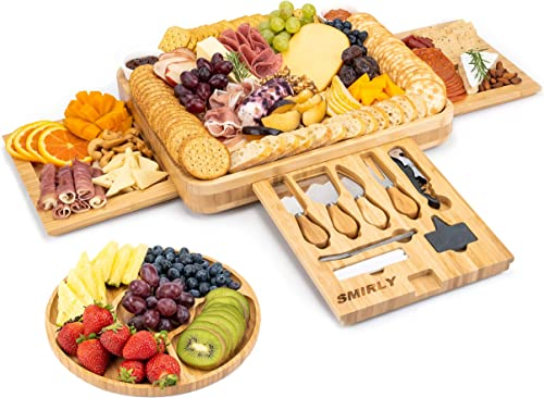 2021 SMIRLY discount Cheese Board and Knife Set: 16 x popular 13 x 2 Inch Wood Charcuterie Platter for Wine, Cheese, Meat online sale