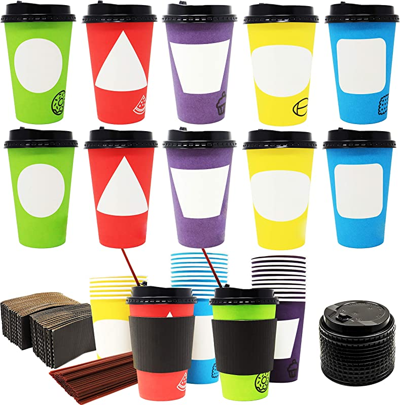 70 Coffee Cups With Lids 12 Ounce Disposable Paper Coffee Cups With Lids And Stirrers To Go Coffee Cups Party Favor
