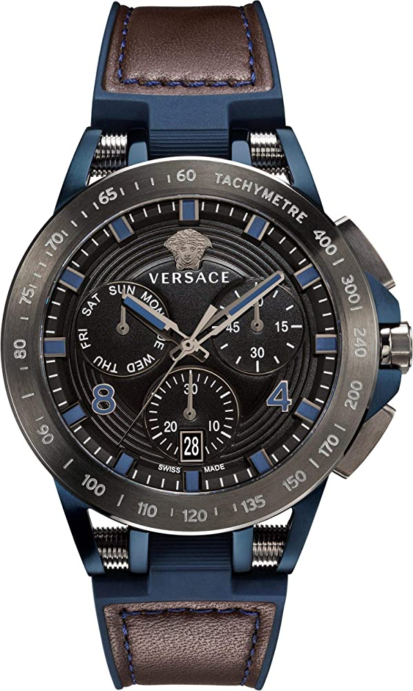 Versace sport tech heren horloge,orologio,cronografo per uomo,cassa in acciaio  e cinturino in pelle VERB00218