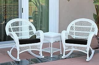Jeco W00209_2-RCES017 3 Piece Santa Maria Rocker Wicker Chair Set with Black Cushions, White