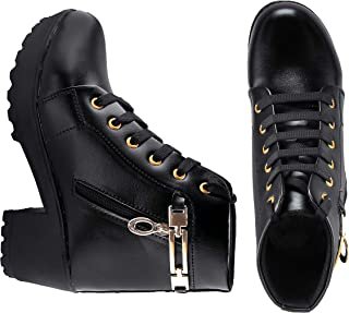 AROOM Synthetic Leather Casual Stylish Boots Shoes for Womens and Girls