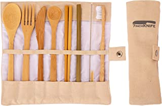 Bamboo Travel Utensils Set   Reusable Travel Cutlery Set with Case   Travel Cutlery Set with Carrying Case   10 pieces reusable set