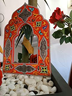 Mirror for Wall Decor Hand Painted with Silver Metal Parts 14,7 Inch on 10 Inch Hanging Wall Decor Handmade Moroccan Mirrors Decorative Mirrors for Wall Home Decor Clearance Berber Design