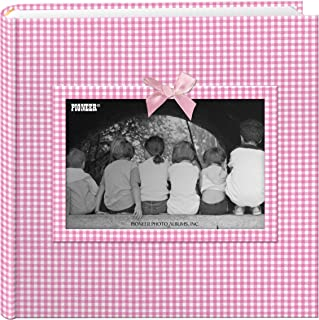 Pioneer Photo Albums 200-Pocket Gingham Fabric Frame Cover Photo Album for 4 by 6-Inch Prints, Pink